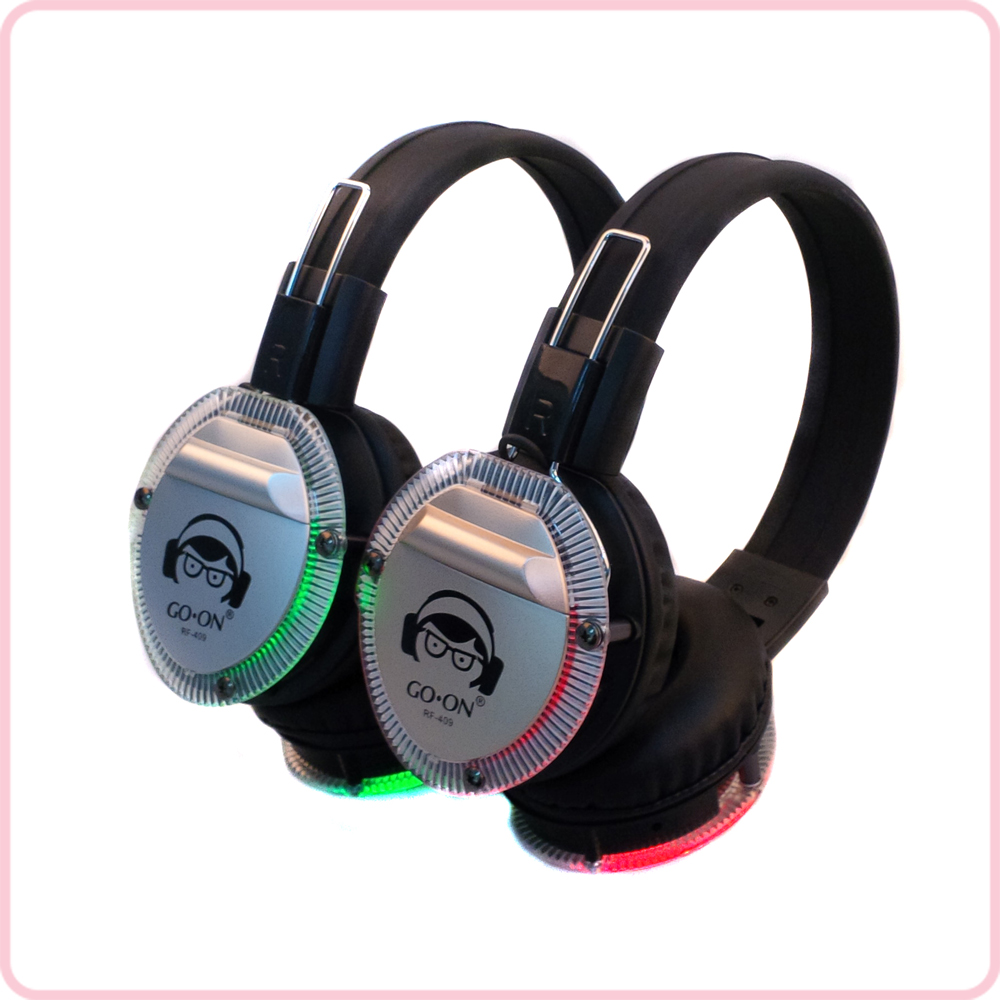 RF-409 new design battery use silent disco headphone with LED light